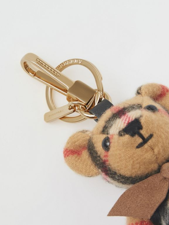 Thomas Bear Charm in Vintage Check Cashmere in Antique Yellow | Burberry - cell image 1