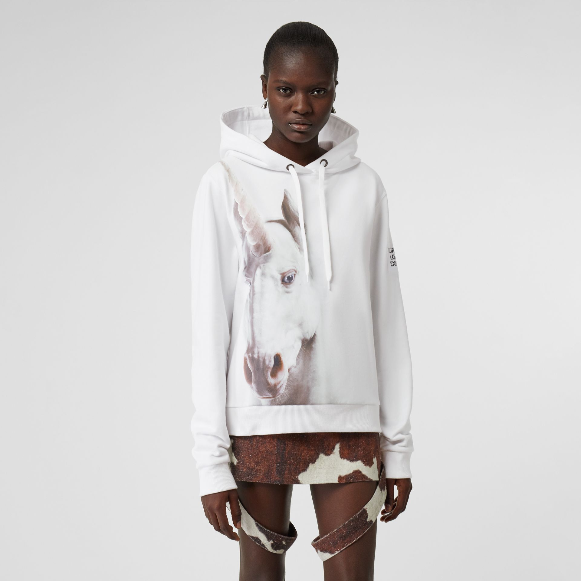 Unicorn Print Cotton Oversized Hoodie in White - Women | Burberry - gallery image 5