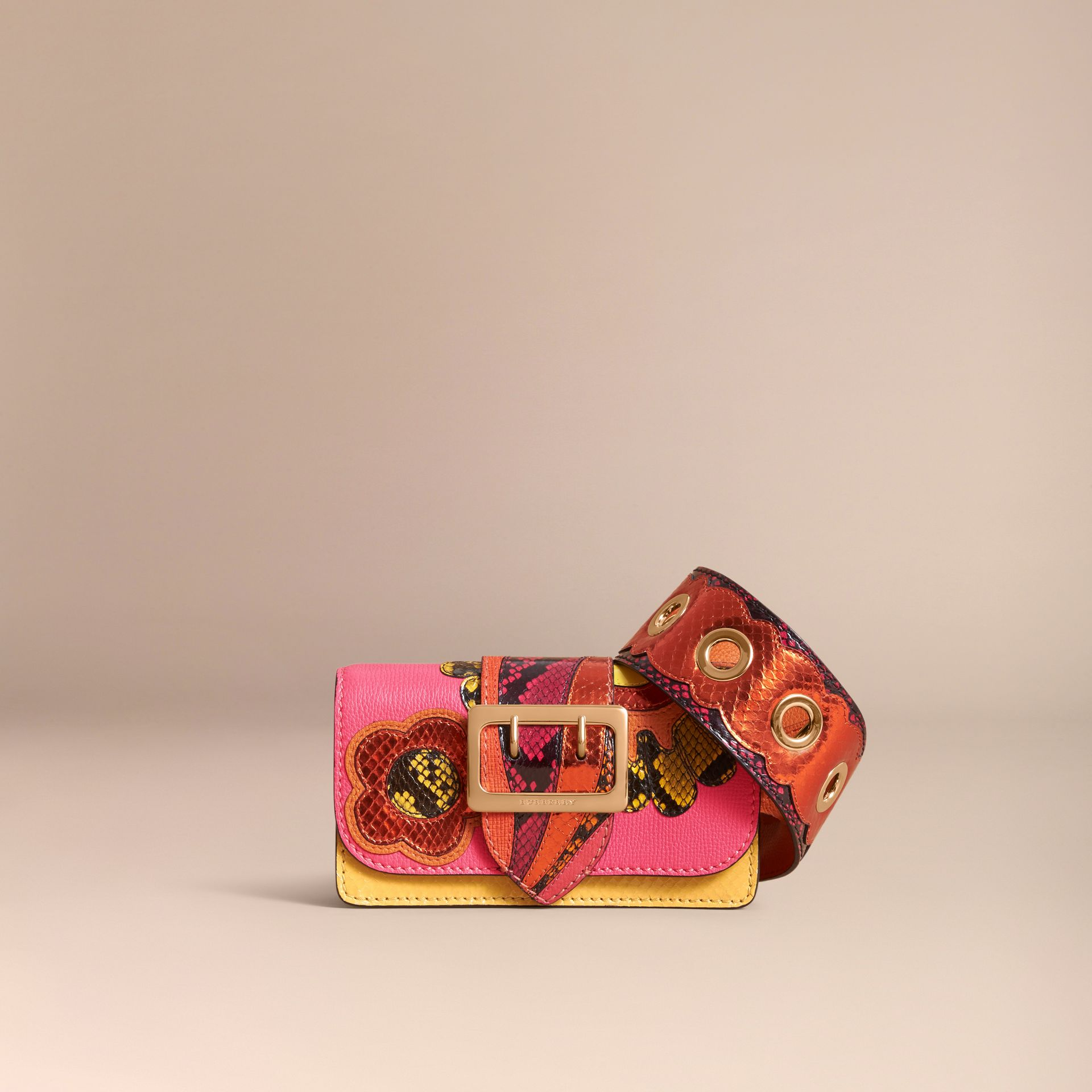 The Small Buckle Bag in Leather and Snakeskin Appliqué - gallery image 8