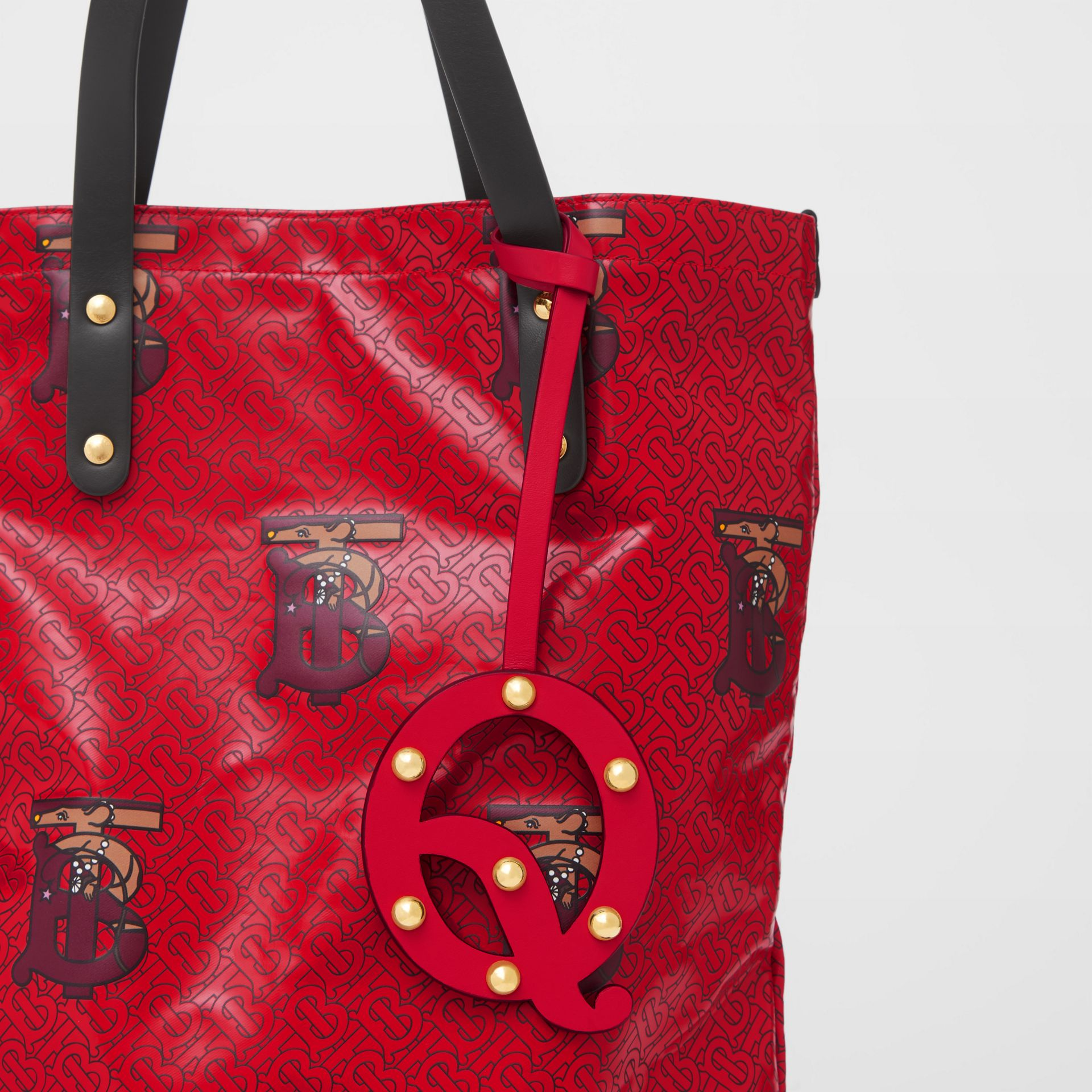 'Q' Studded Leather Alphabet Charm in Red/light Gold - Women | Burberry - gallery image 3
