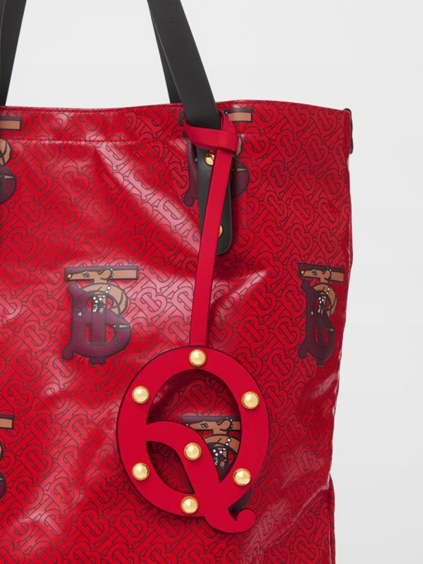 'Q' Studded Leather Alphabet Charm in Red/light Gold - Women | Burberry - cell image 3