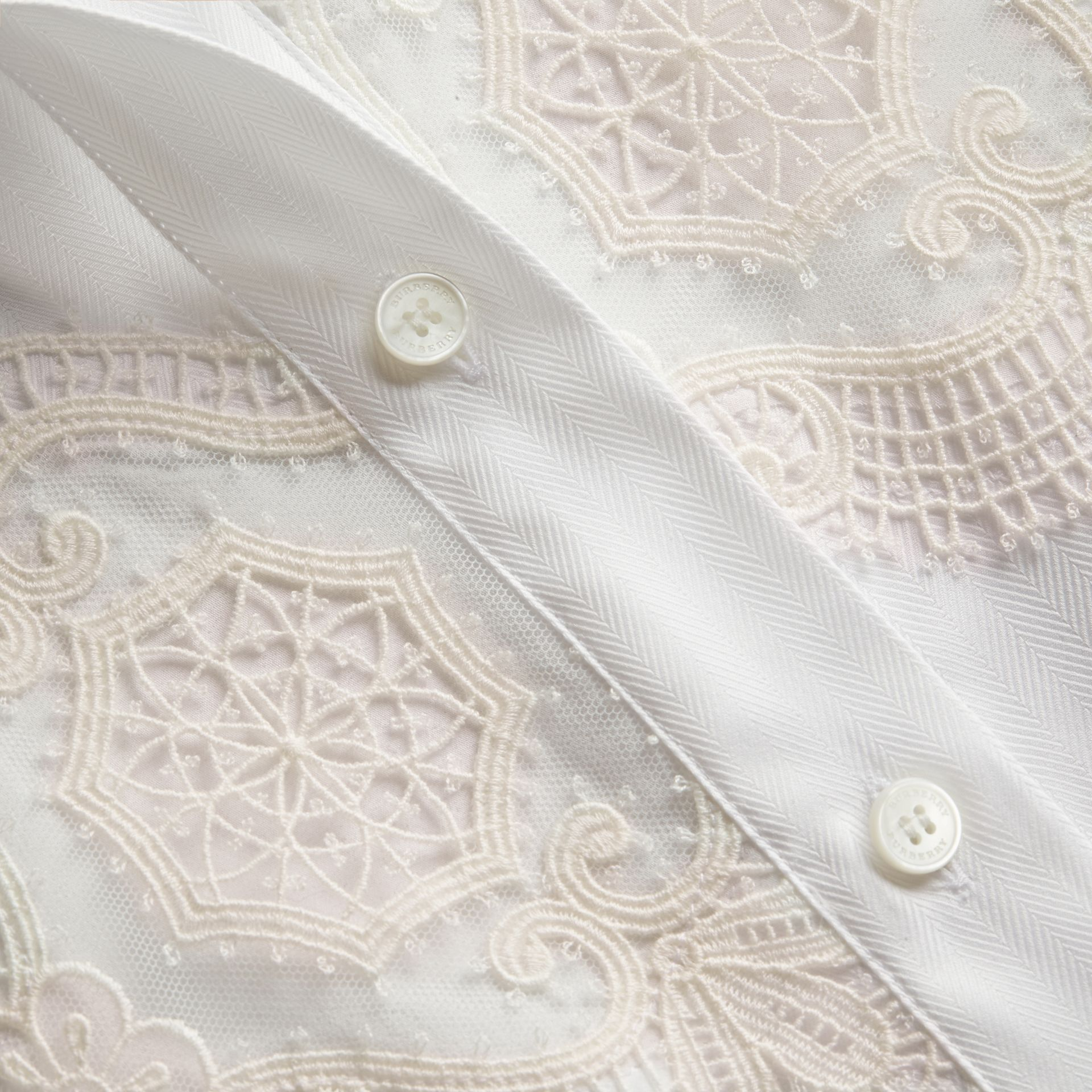 Lace Cutwork Herringbone Cotton Shirt in White - Women | Burberry - gallery image 2