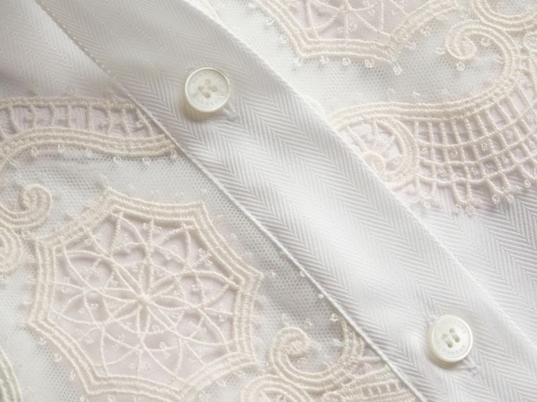 Lace Cutwork Herringbone Cotton Shirt - cell image 1