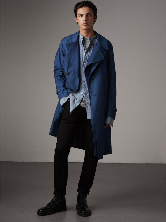 Tropical Gabardine Cotton Trench Coat in Canvas Blue