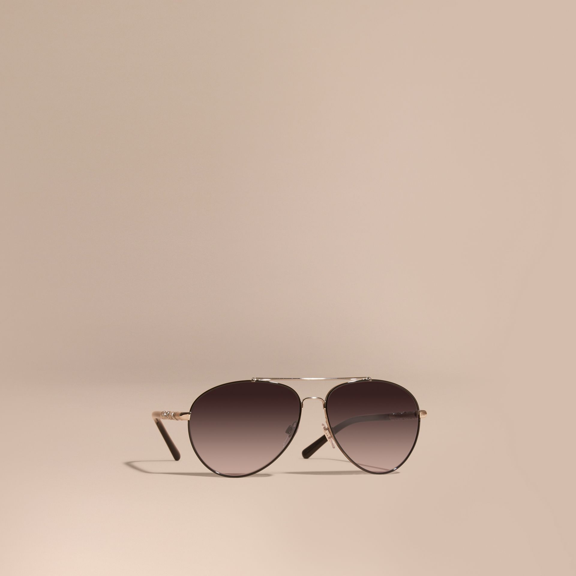 Check Detail Pilot Sunglasses in Grey Lilac - Women | Burberry Canada - gallery image 1