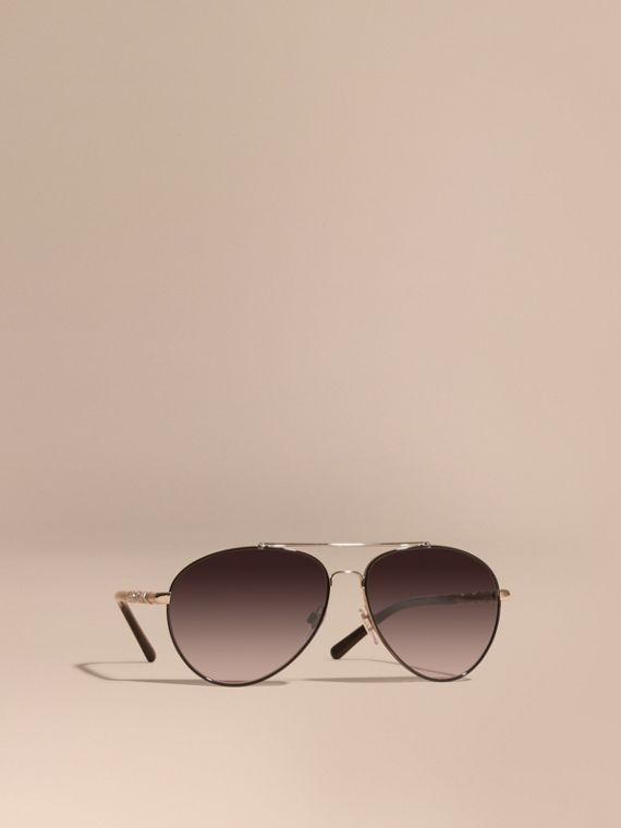 Check Detail Pilot Sunglasses in Grey Lilac - Women | Burberry Australia