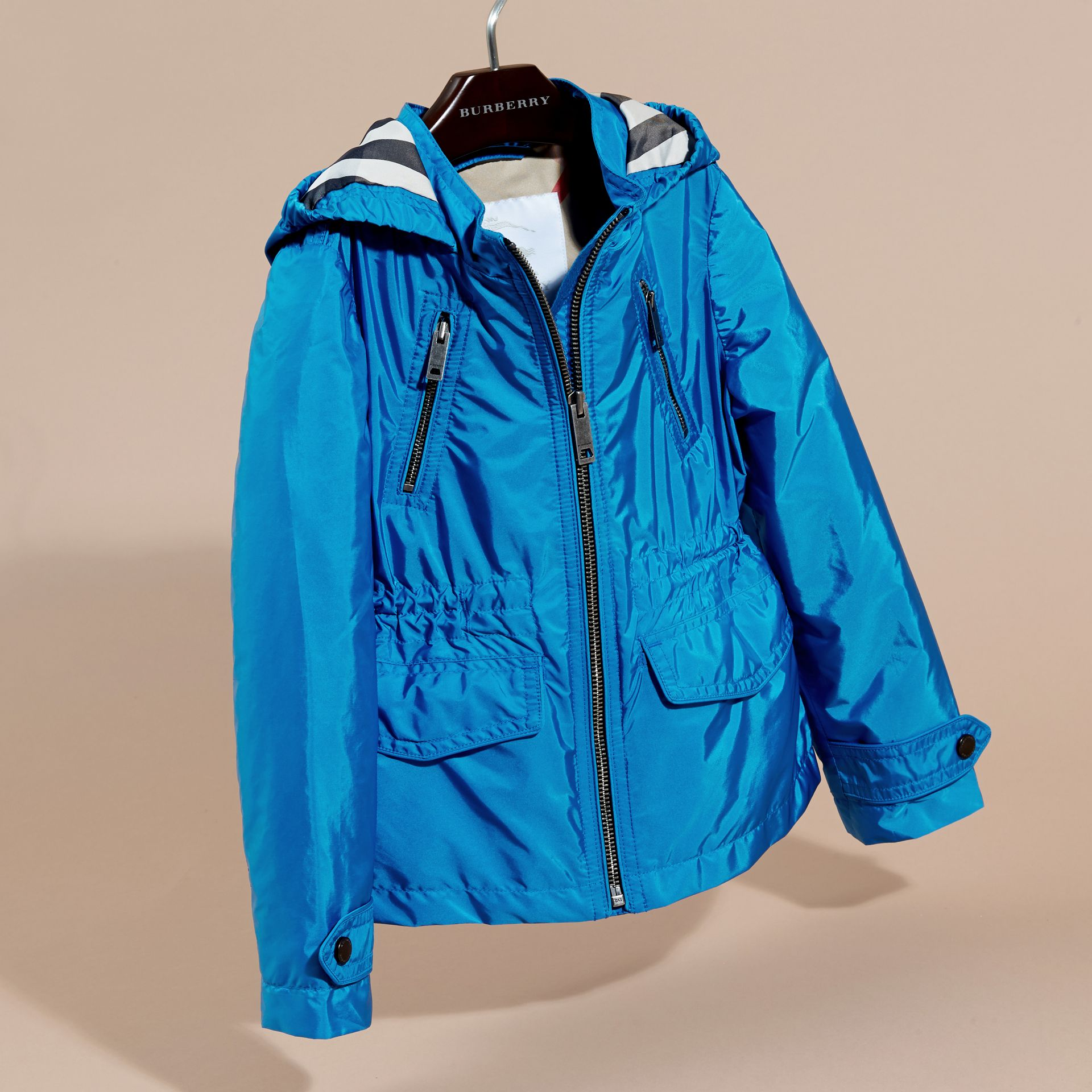 Hooded Packaway Technical Jacket Hydrangea Blue - gallery image 3