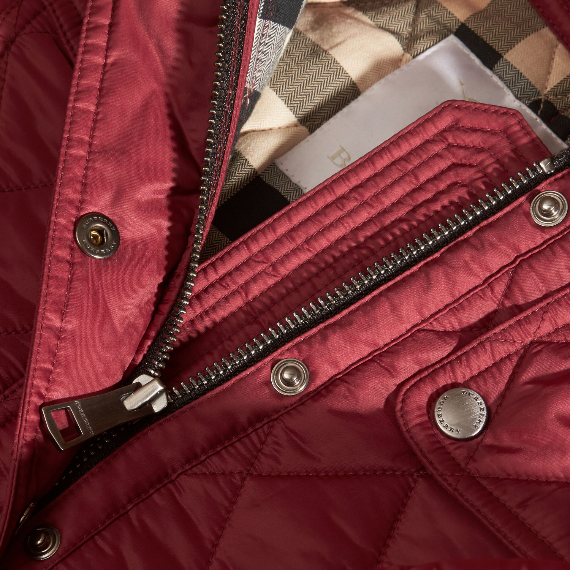 Dark plum pink Quilted Nylon Jacket with Detachable Hood - gallery image 2