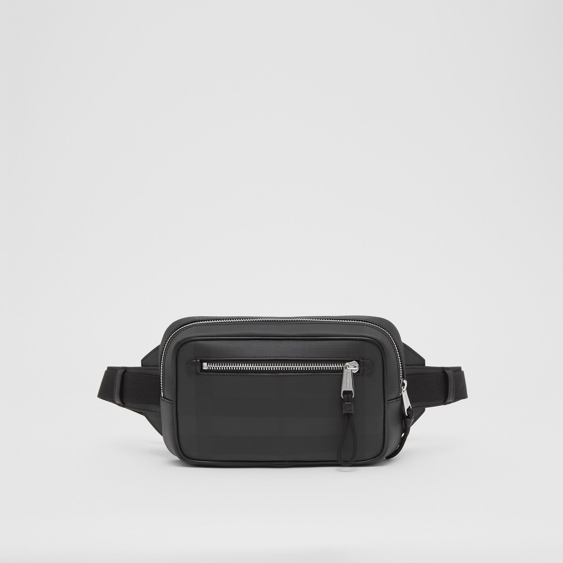 London Check and Leather Bum Bag in Dark Charcoal - Men | Burberry - gallery image 0