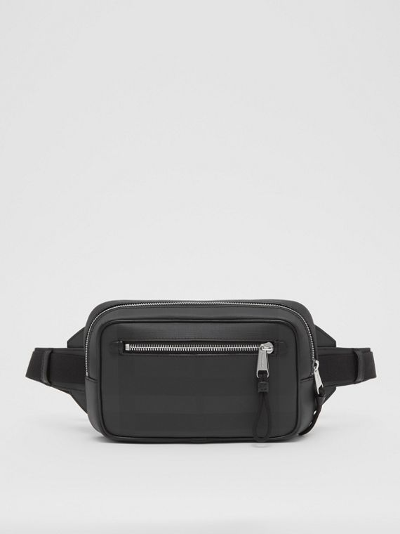 London Check and Leather Bum Bag in Dark Charcoal