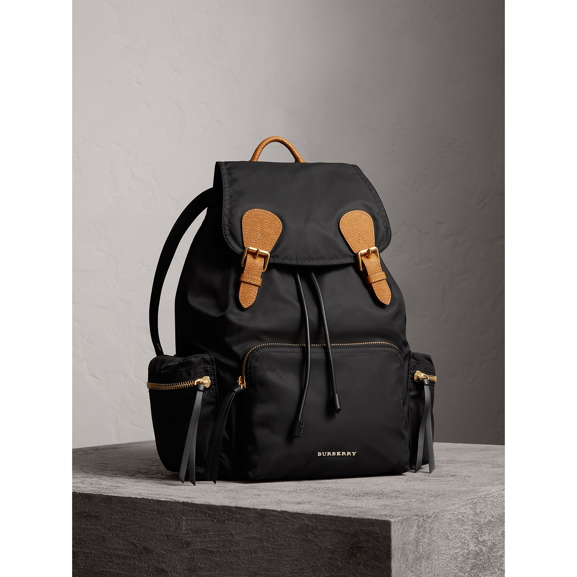 The Large Rucksack in Technical Nylon and Leather in Black - Women | Burberry Australia - gallery image 1
