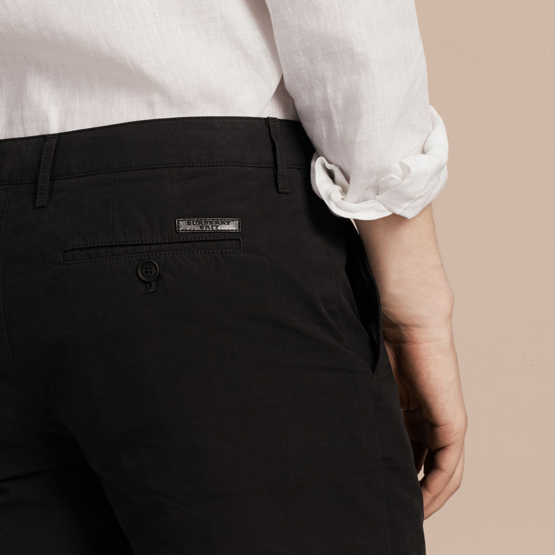 Black Cotton Poplin Chino Shorts Black - gallery image 5