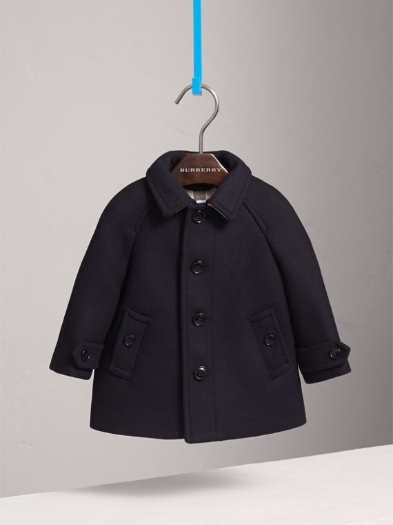 Wool Cashmere Blend Car Coat in Navy | Burberry Canada - cell image 2