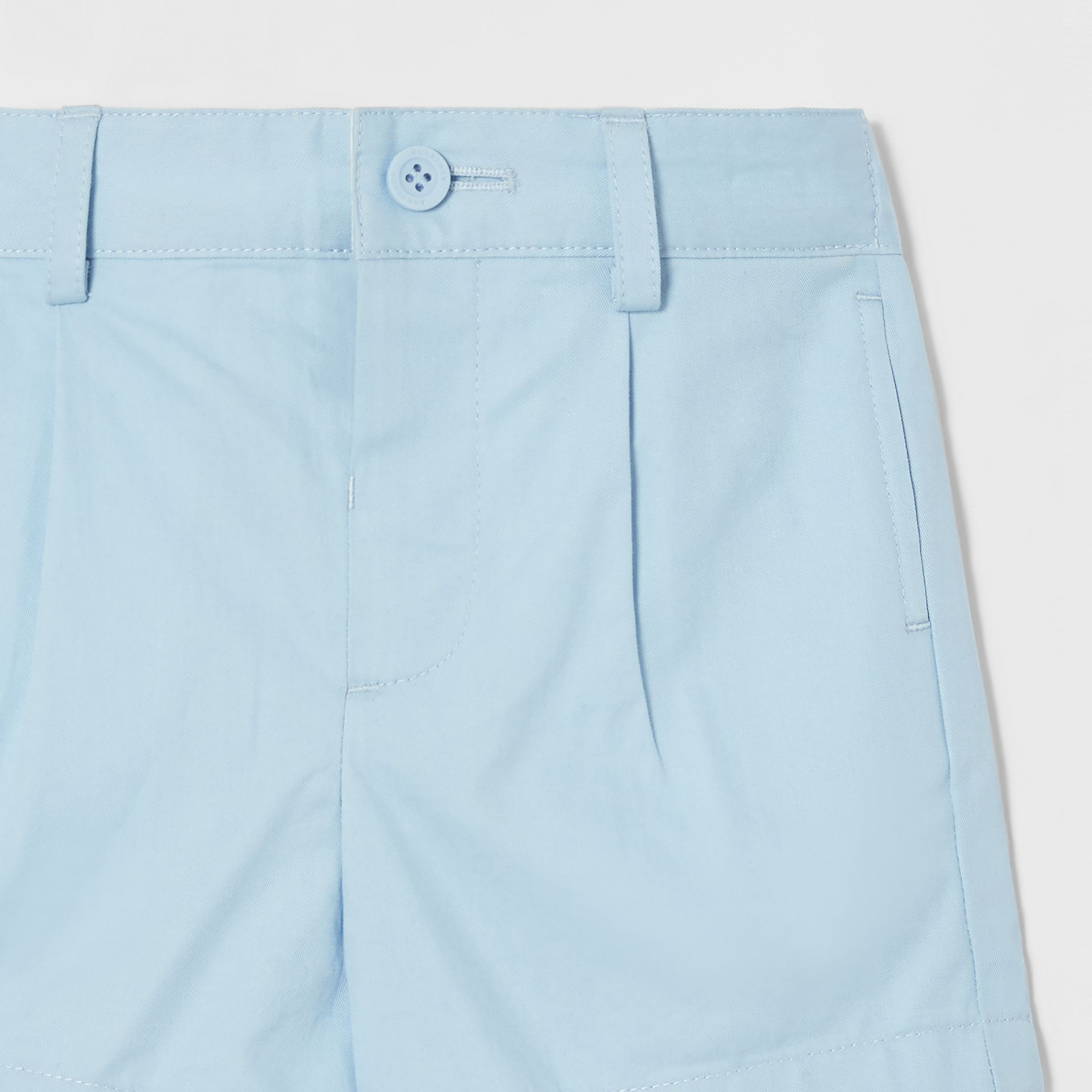 Logo Appliqué Cotton Twill Tailored Shorts in Pale Blue - Children | Burberry - gallery image 4
