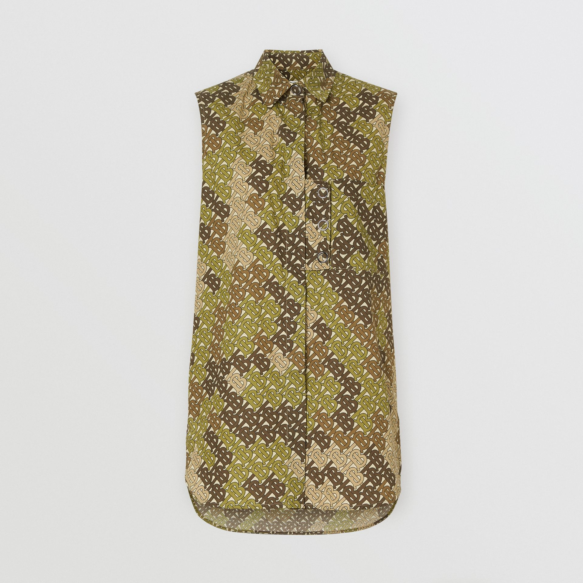 Sleeveless Monogram Print Cotton Poplin Shirt in Khaki Green - Women | Burberry - gallery image 3