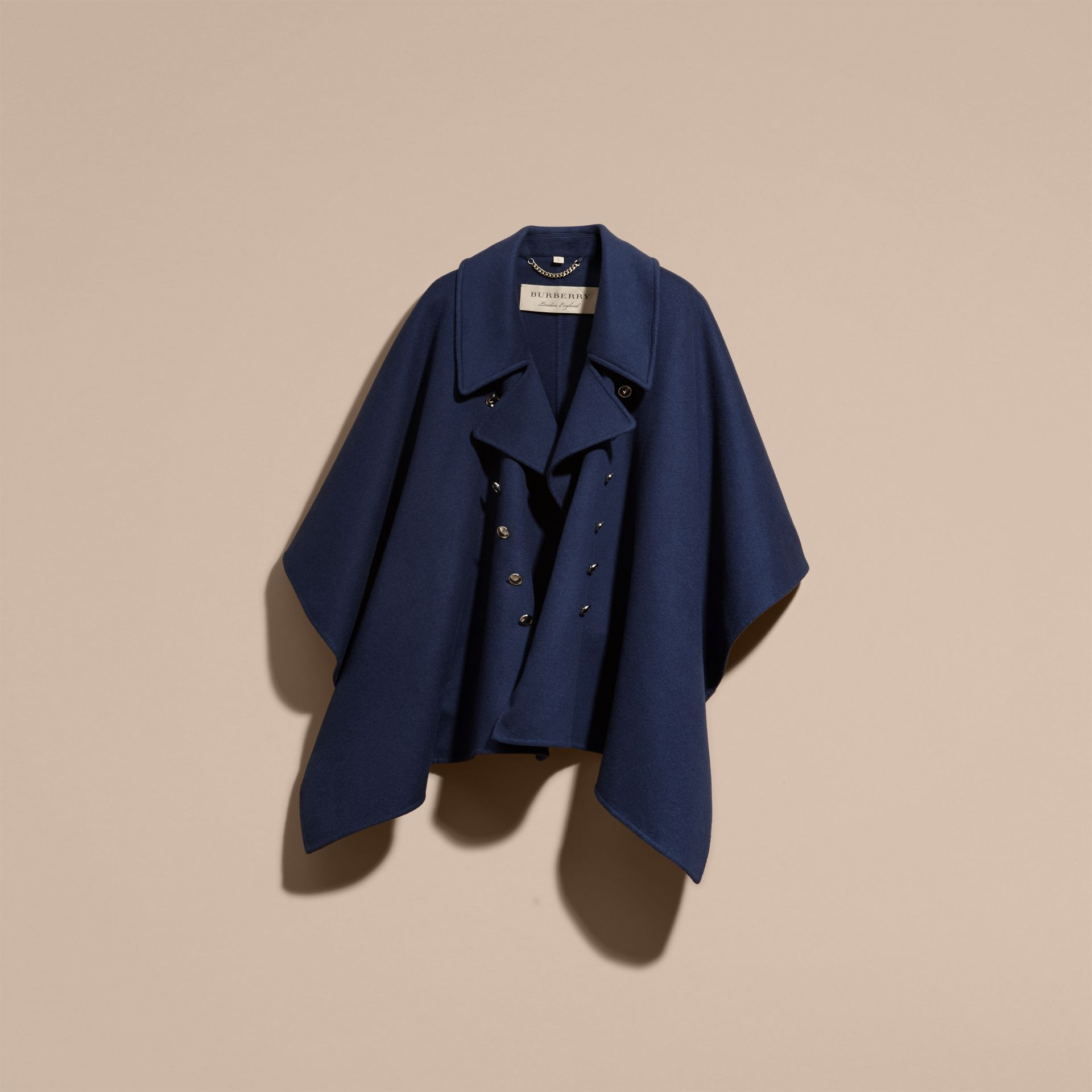 Navy Military Button Wool Cashmere Blend Cape Navy - gallery image 4