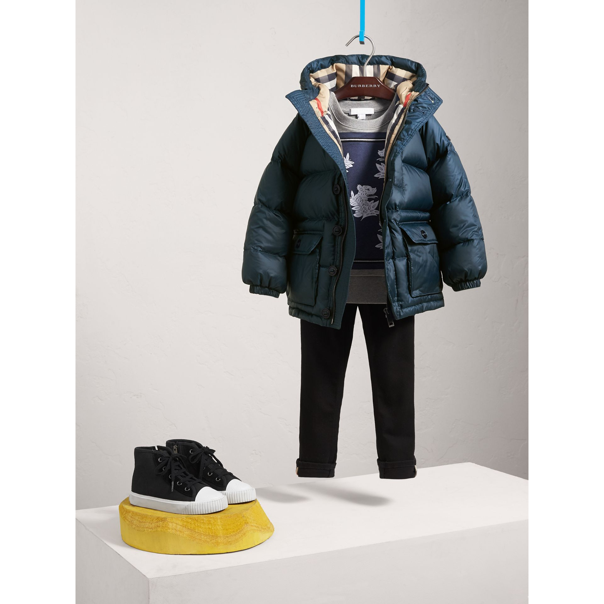 Shower-resistant Hooded Puffer Jacket - Boy | Burberry - gallery image 1