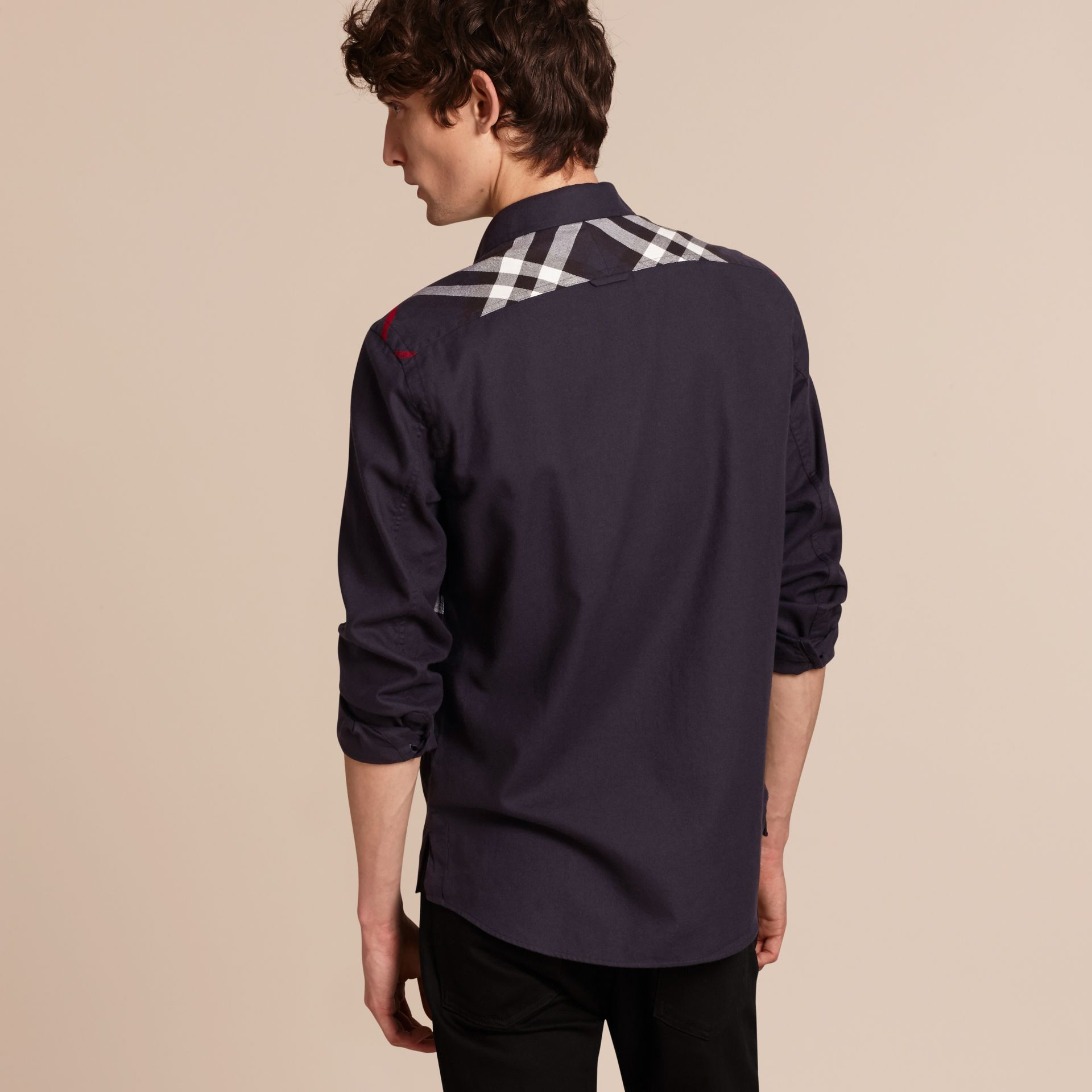 Navy Check Detail Cotton Flannel Shirt Navy - gallery image 3