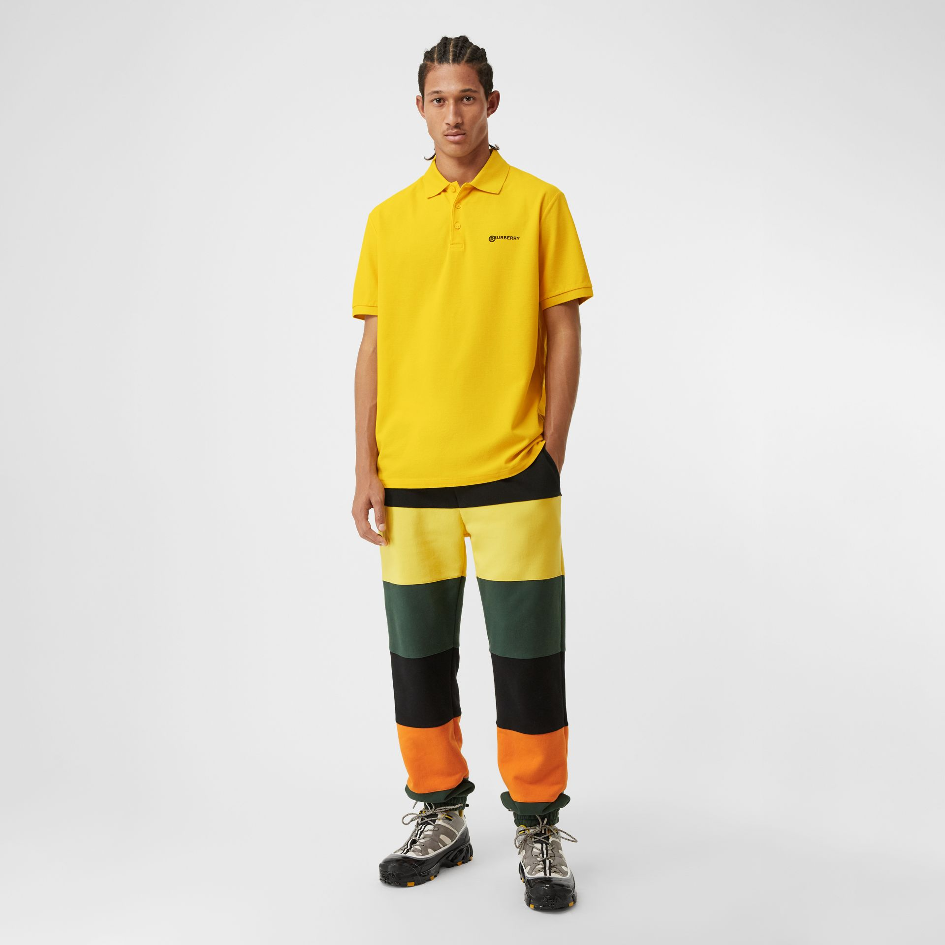 Location Print Cotton Piqué Oversized Polo Shirt in Canary Yellow - Men | Burberry - gallery image 0