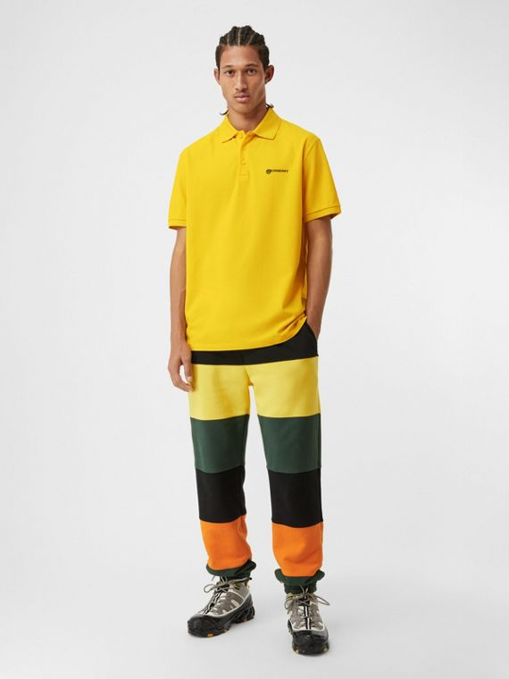Location Print Cotton Piqué Oversized Polo Shirt in Canary Yellow