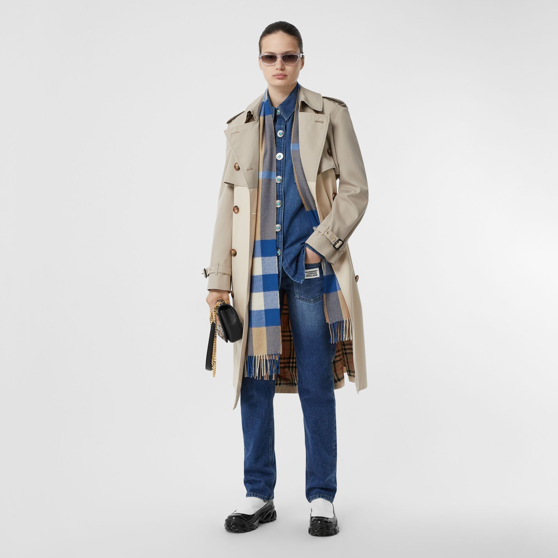 Check Cashmere Scarf in Arc Beige/inky Blue | Burberry Canada - gallery image 5