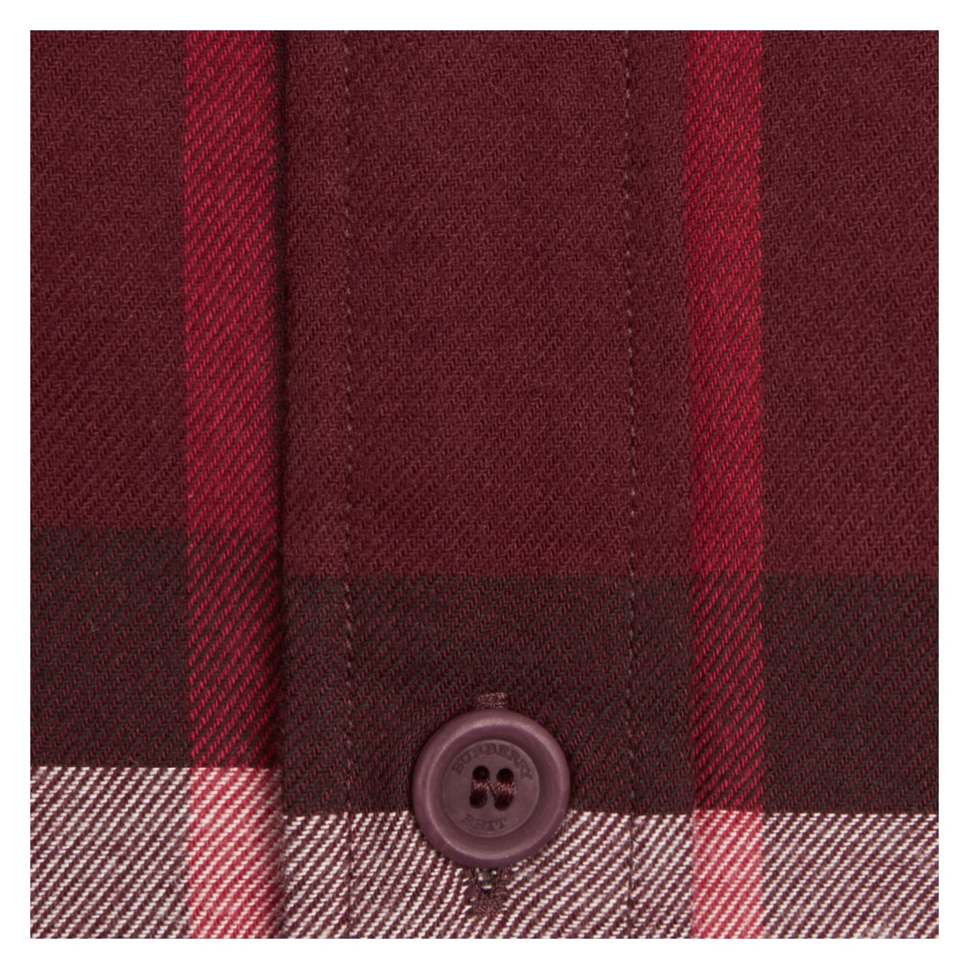 Weinrot Hemd aus Baumwollflanell mit Check-Muster Weinrot - Galerie-Bild 2