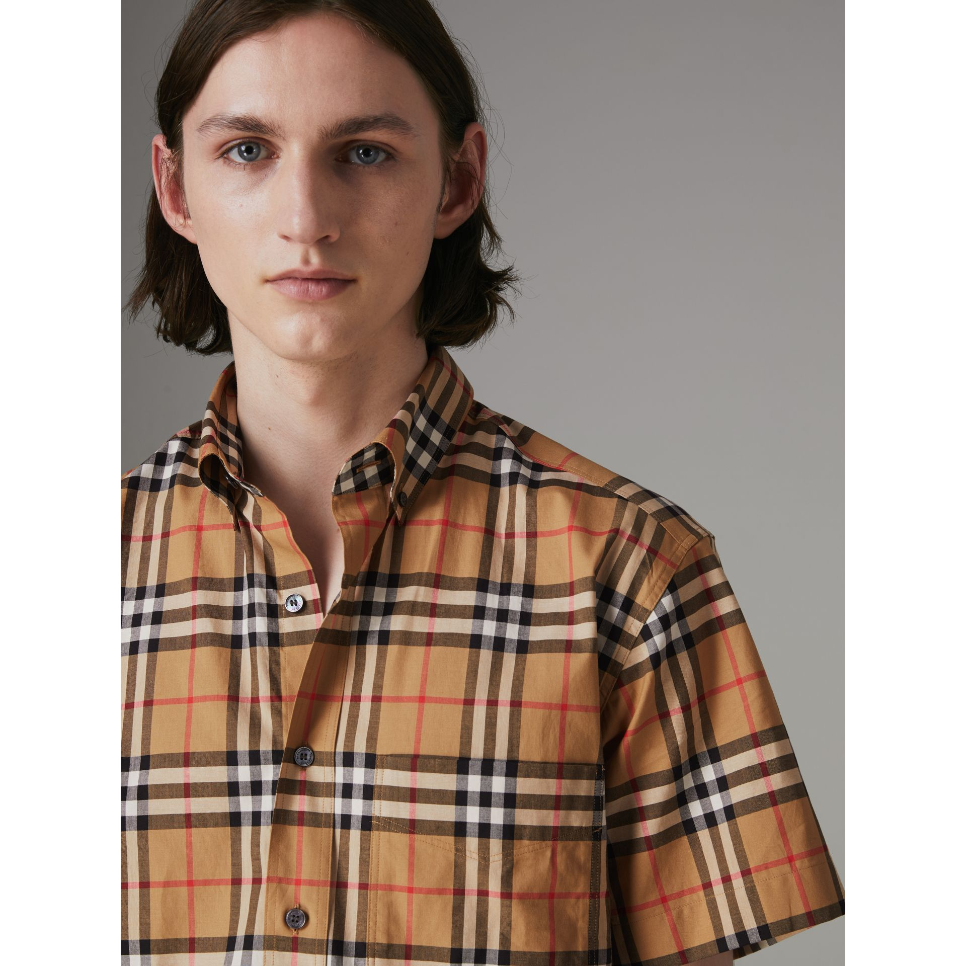 Short-sleeve Vintage Check Shirt in Antique Yellow - Men | Burberry Hong Kong - gallery image 1