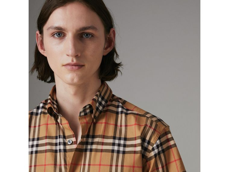 Short-sleeve Vintage Check Shirt in Antique Yellow - Men | Burberry - cell image 1