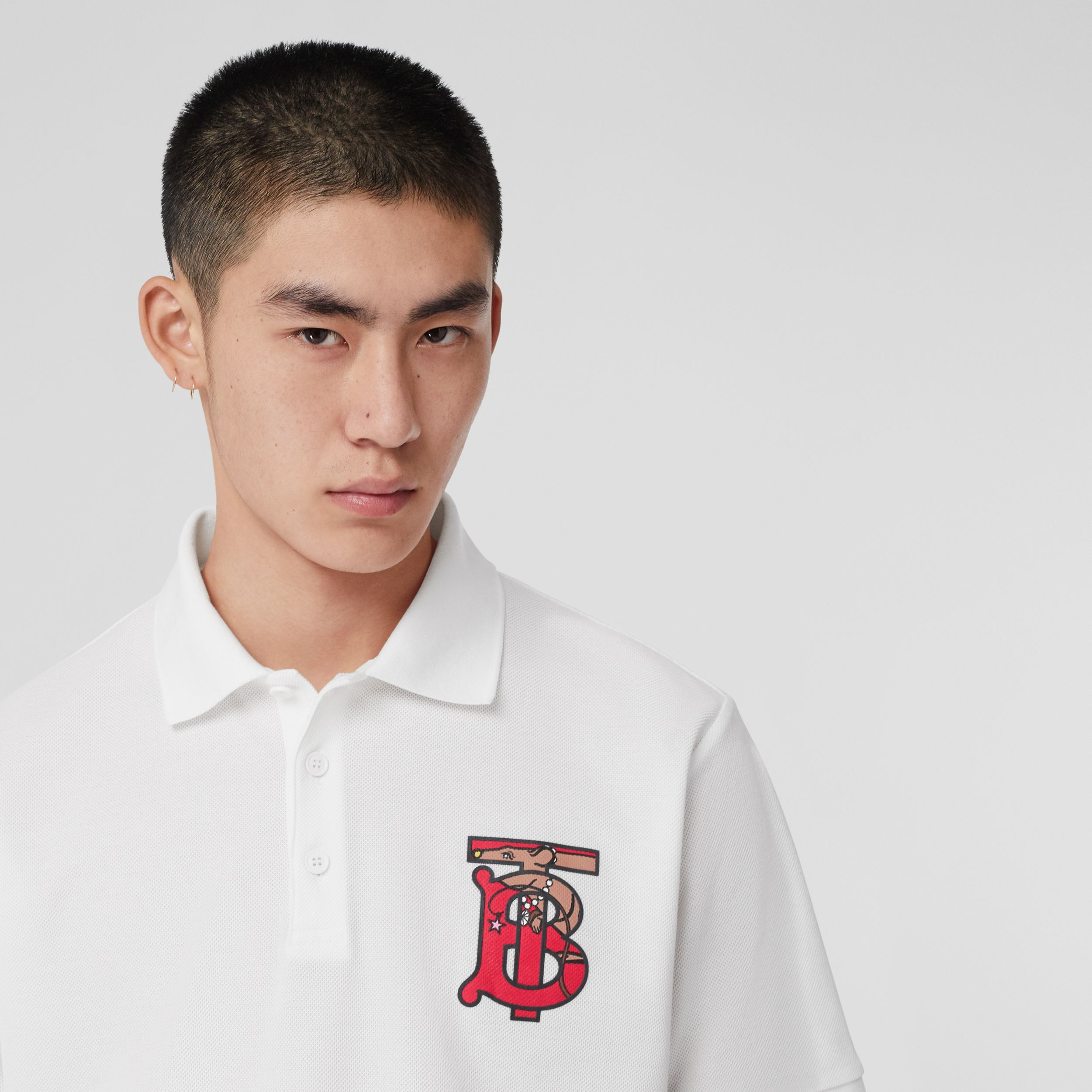 Monogram Motif Cotton Piqué Oversized Polo Shirt in White - Men | Burberry - 2