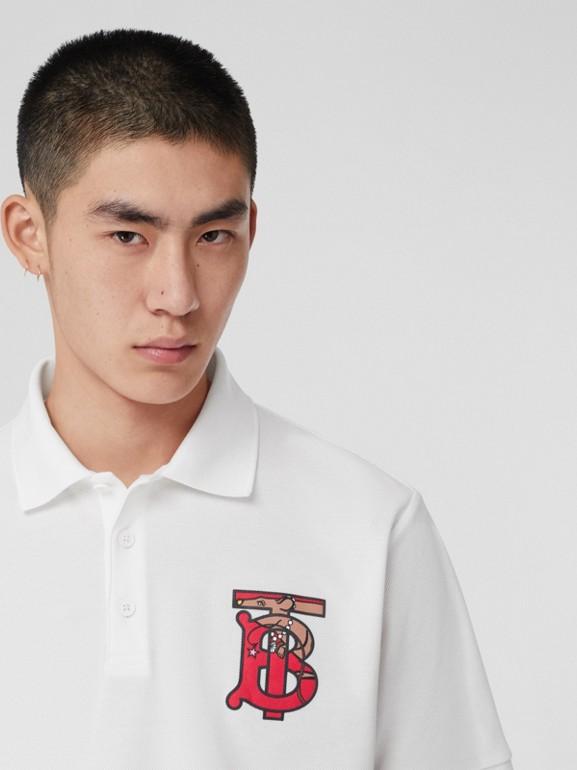 Monogram Motif Cotton Piqué Oversized Polo Shirt in White - Men | Burberry United Kingdom - cell image 1