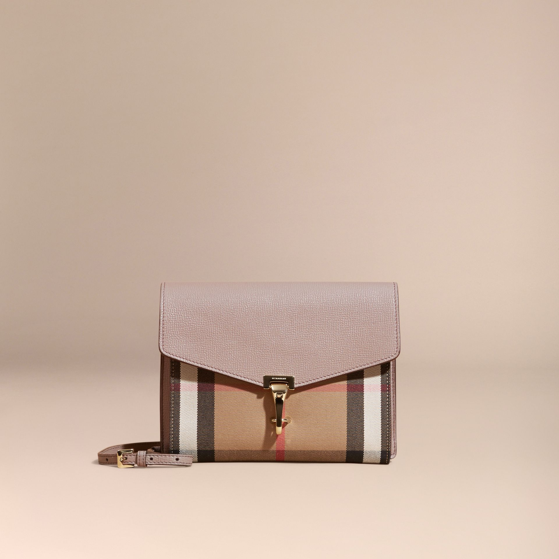 Gris chardon Petit sac à bandoulière en cuir et coton House check Gris Chardon - photo de la galerie 8