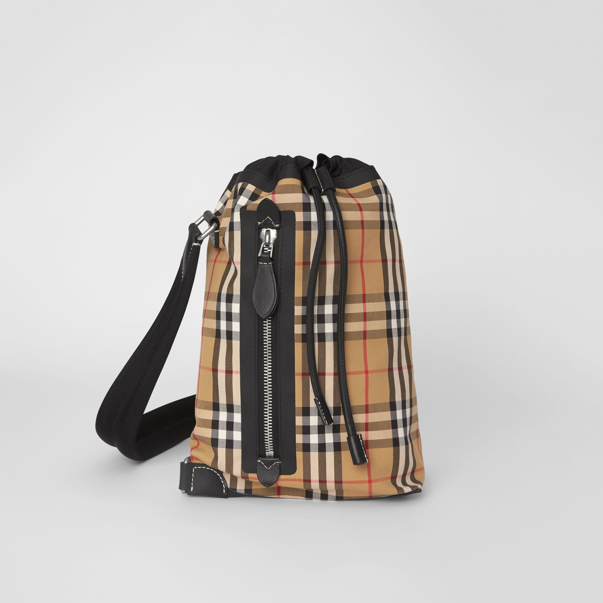 Small Vintage Check Canvas Duffle Bag in Antique Yellow - Women | Burberry United Kingdom - gallery image 0