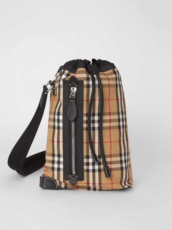 Small Vintage Check Canvas Duffle Bag in Antique Yellow