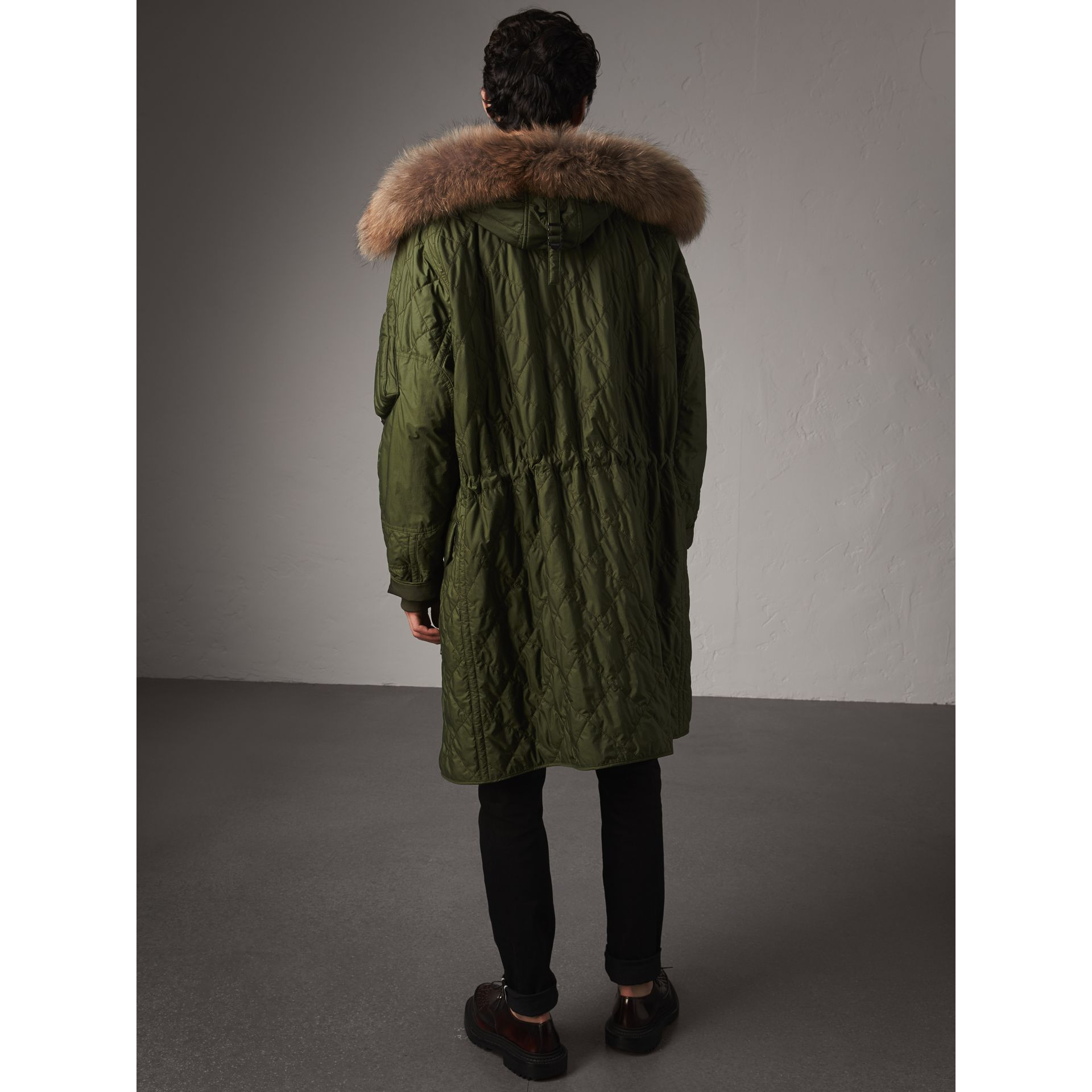 Detachable Fur Trim Hooded Diamond Quilted Parka in Olive - Men | Burberry - gallery image 2