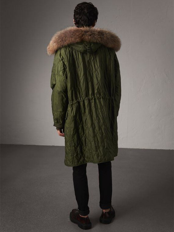 Detachable Fur Trim Hooded Diamond Quilted Parka in Olive - Men | Burberry United Kingdom - cell image 2