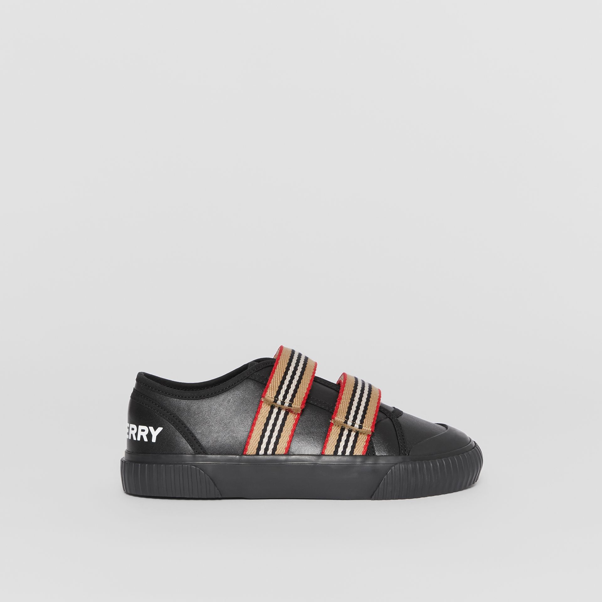 Icon Stripe Detail Leather Sneakers in Black - Children | Burberry United Kingdom - gallery image 3