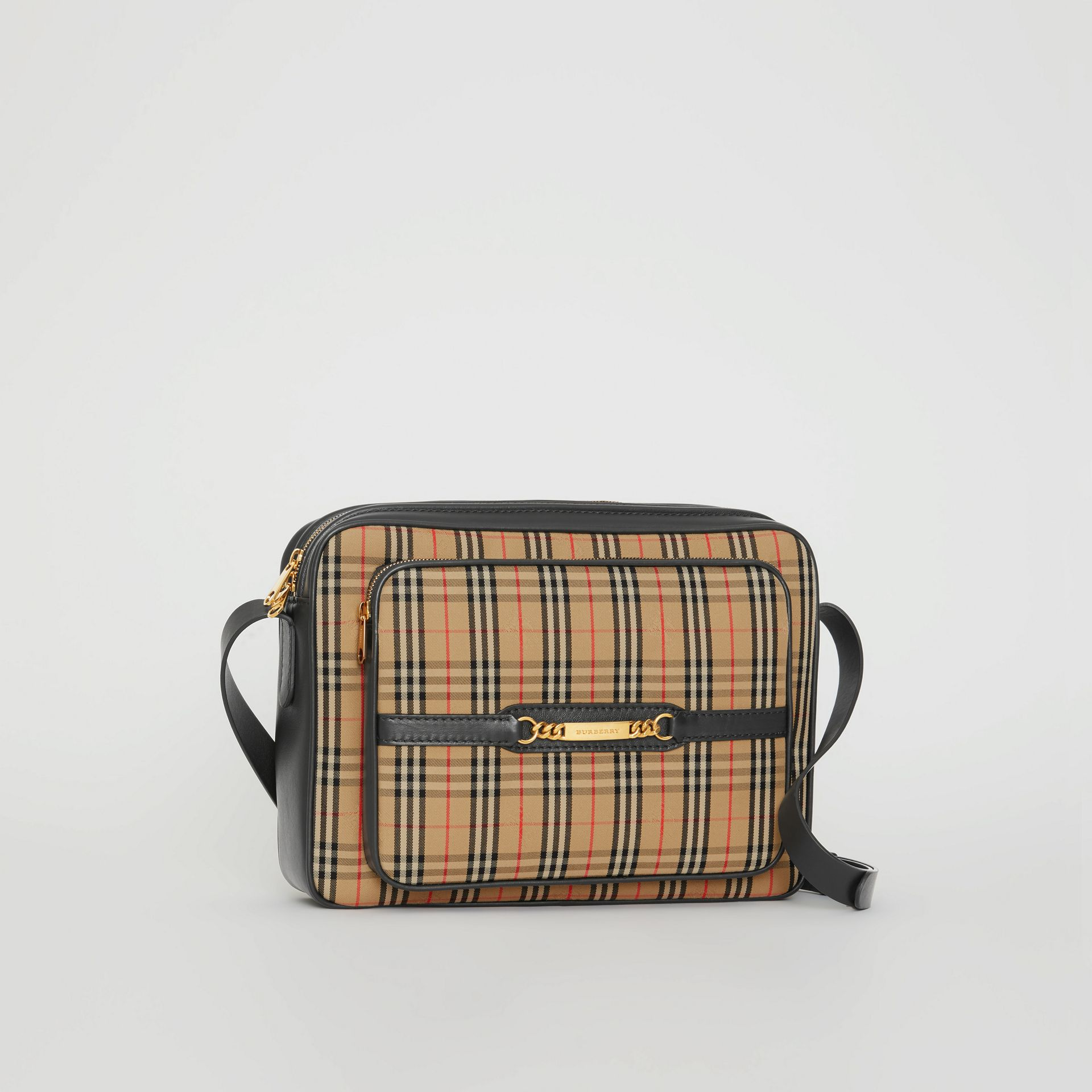 The Large 1983 Check Link Camera Bag in Black - Men | Burberry United Kingdom - gallery image 6