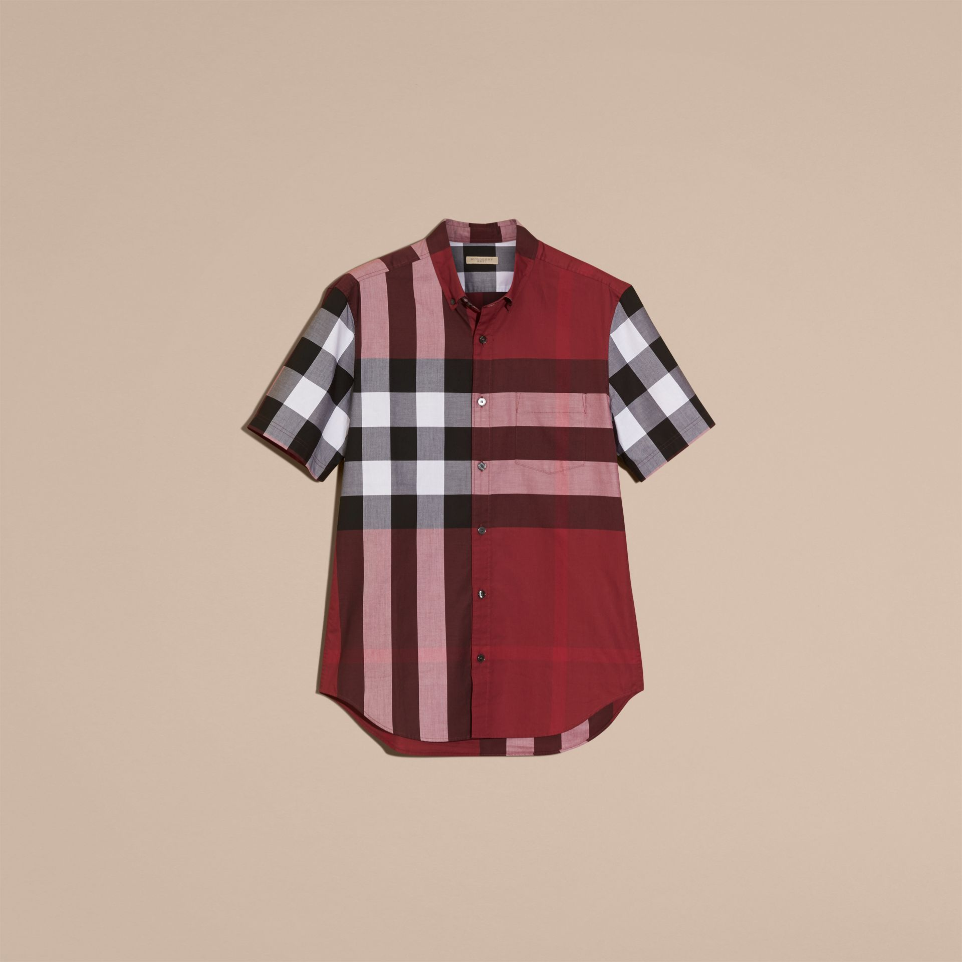 Rojo baya Camisa de manga corta en algodón con estampado de checks Rojo Baya - imagen de la galería 4