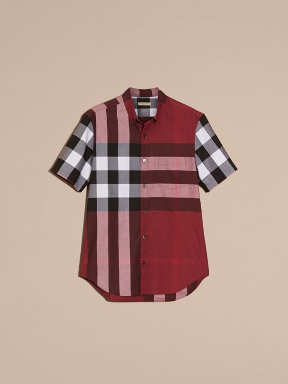 Berry red Short-sleeved Check Cotton Shirt Berry Red - cell image 3