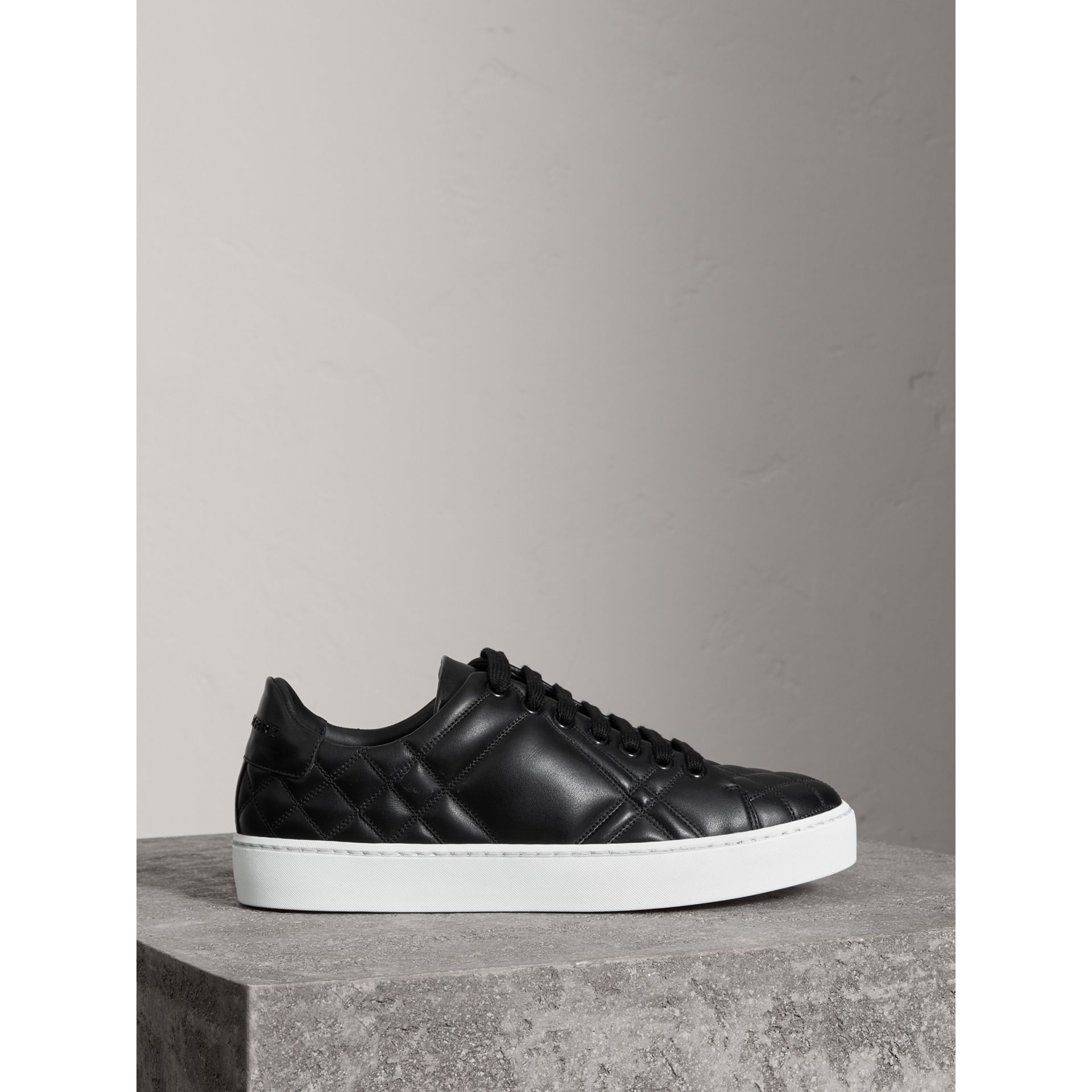 Check-quilted Leather Trainers in Black - Women | Burberry United Kingdom - gallery image 4
