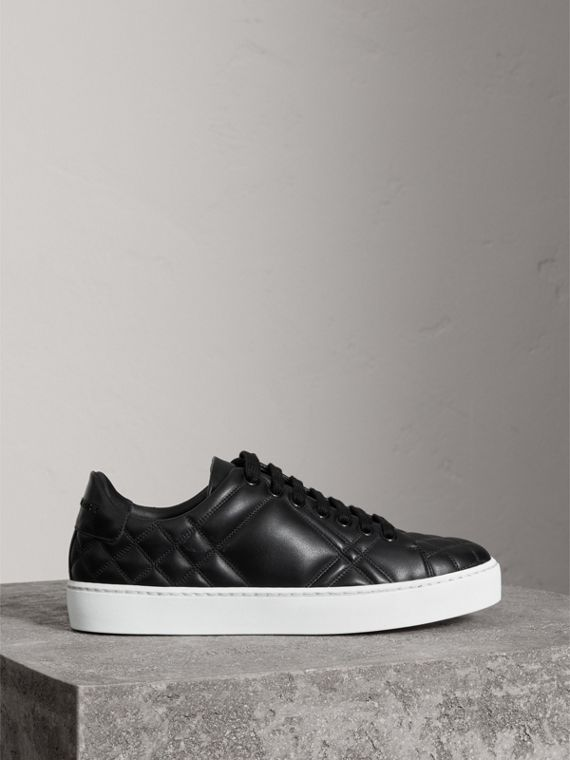 Check-quilted Leather Trainers in Black - Women | Burberry United Kingdom - cell image 3
