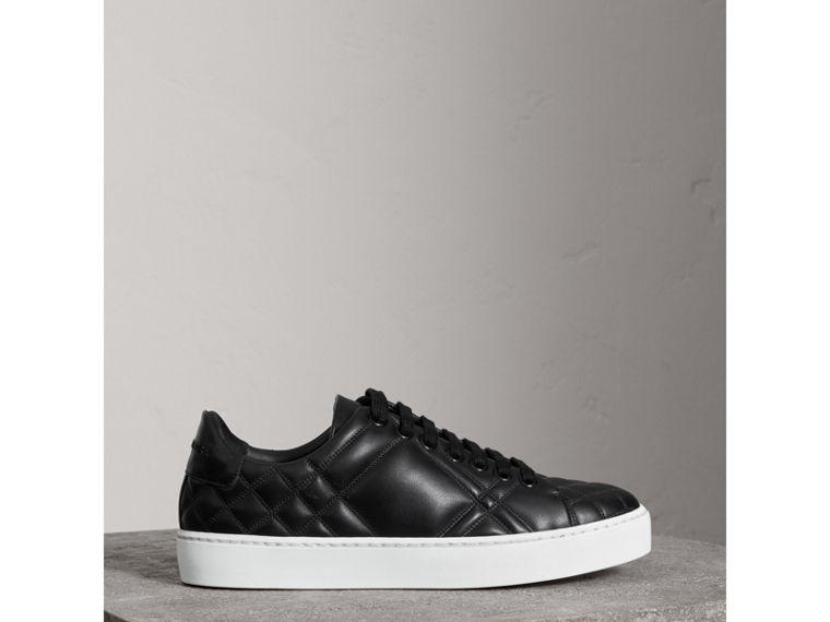Check-quilted Leather Sneakers in Black - Women | Burberry United Kingdom - cell image 4