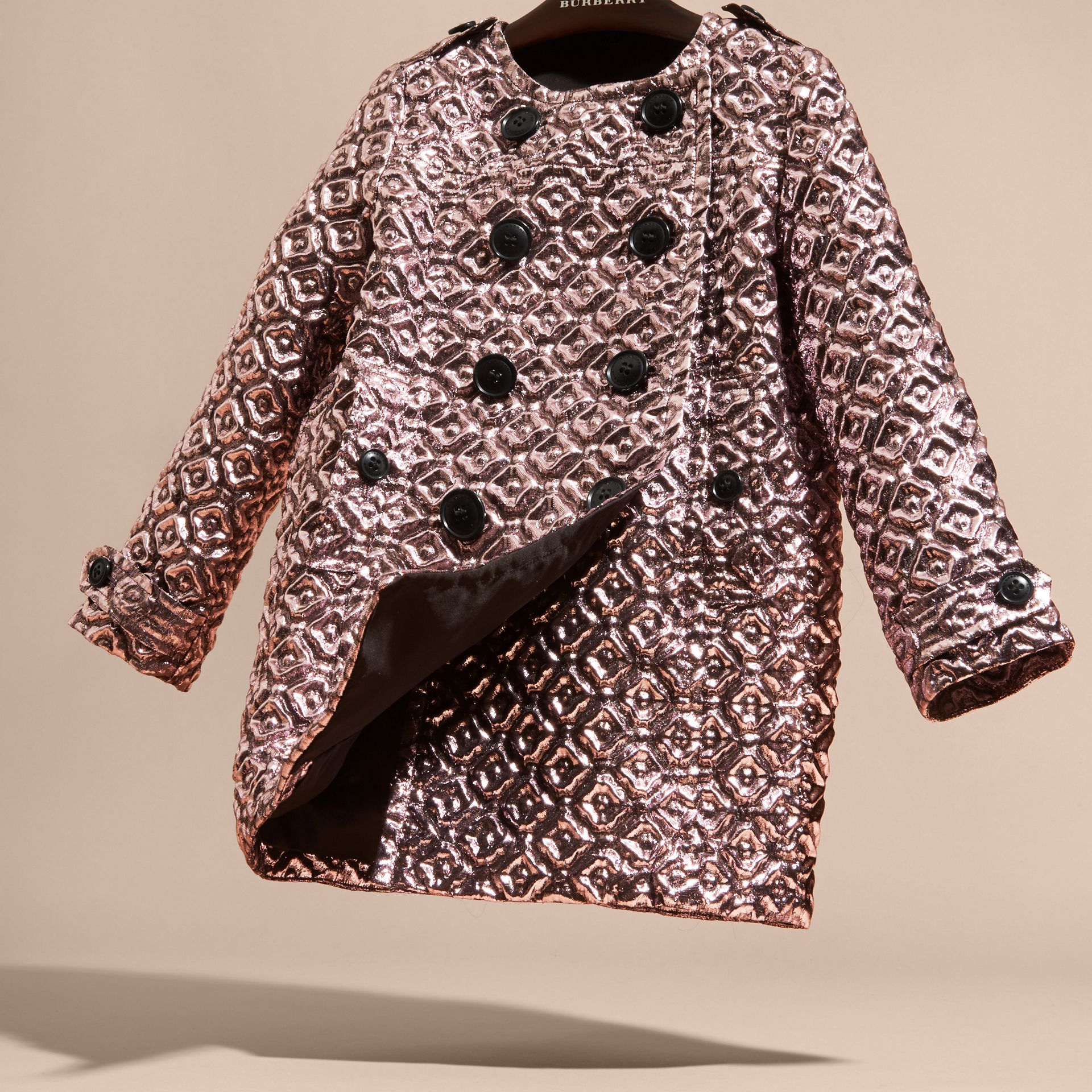 Diamond Matelassé Cocoon Coat in Pale Ash Rose - gallery image 3