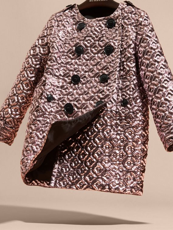 Diamond Matelassé Cocoon Coat in Pale Ash Rose - cell image 2