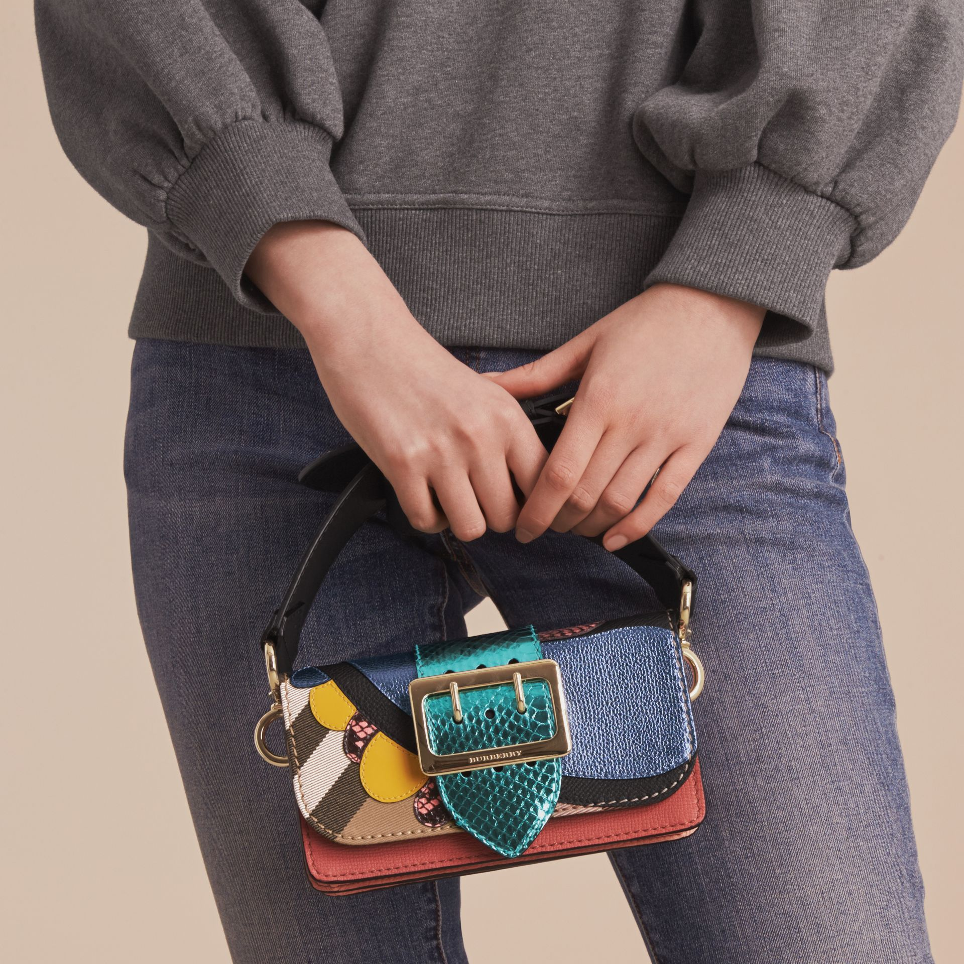 The Small Buckle Bag in House Check and Leather - gallery image 9