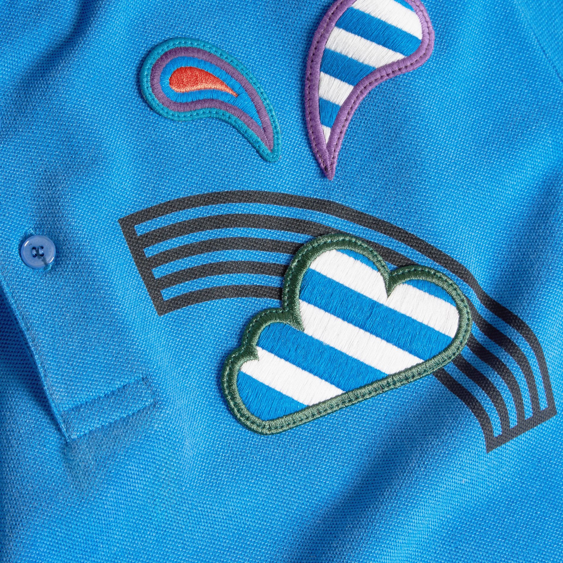 Chalk blue Weather Appliqué Cotton Piqué Polo Shirt - gallery image 2