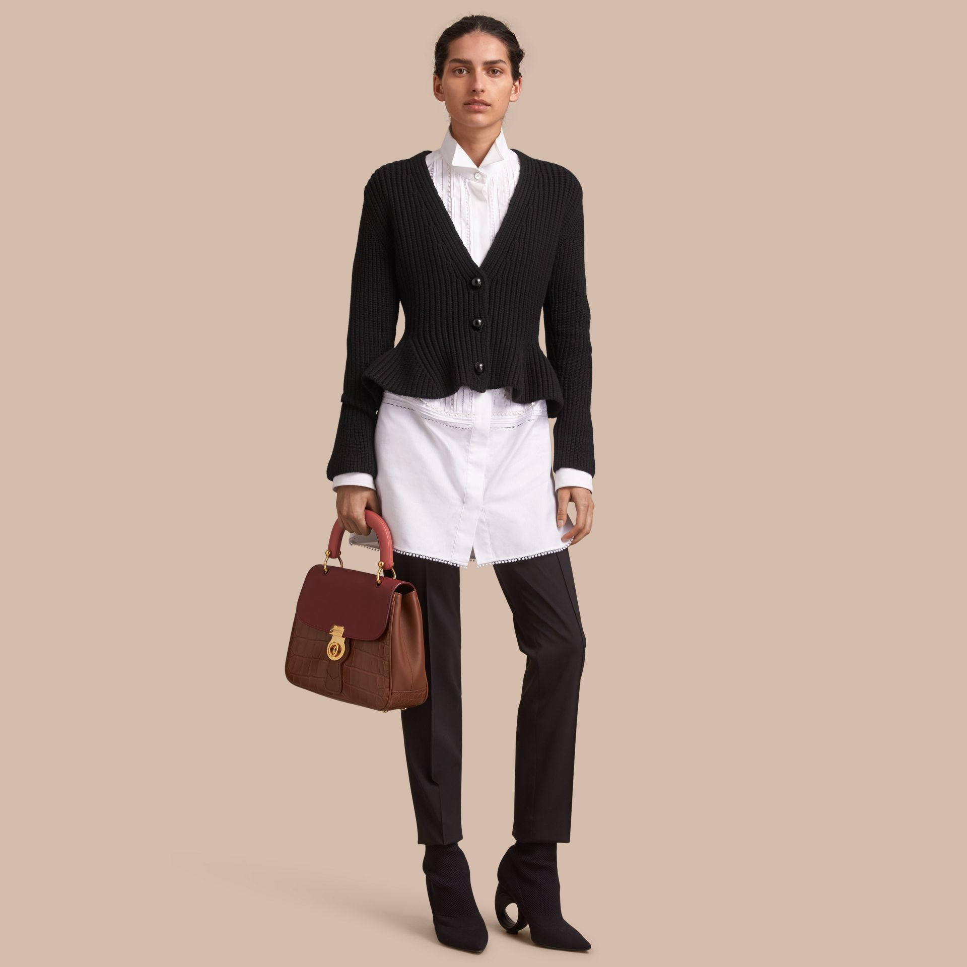 Knitted Wool Cashmere Blend Peplum Jacket - gallery image 1