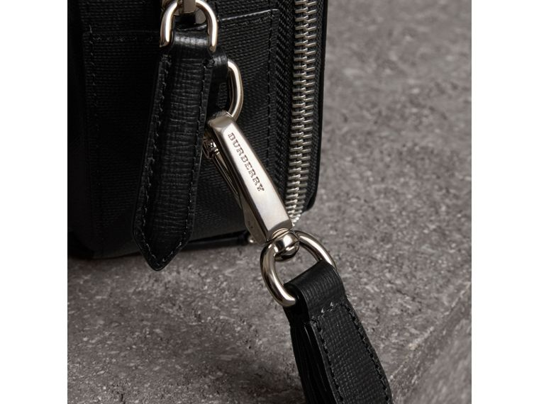 Leather-trimmed London Check Pouch in Charcoal/black | Burberry Canada - cell image 1