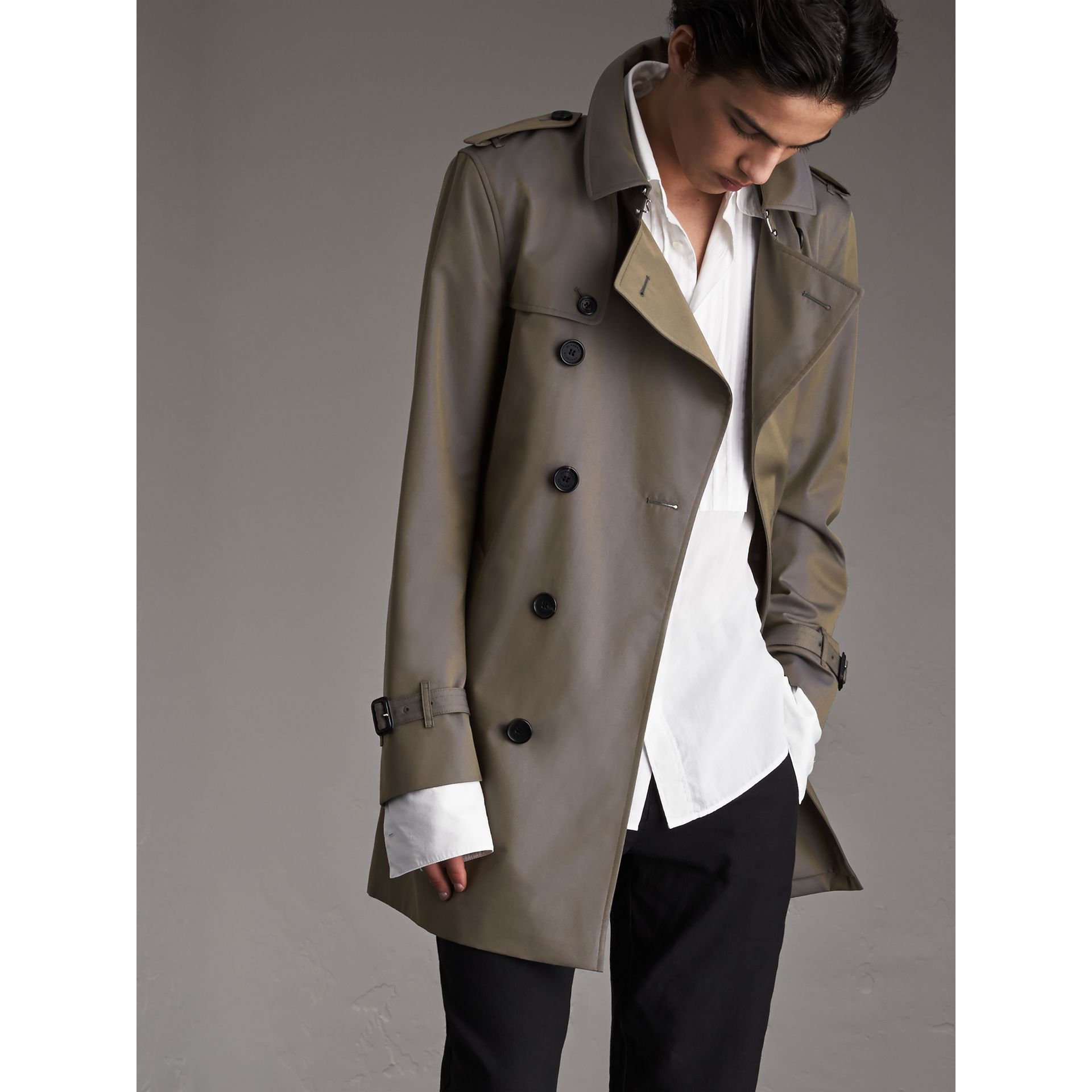 Cotton Gabardine Trench Coat in Storm Blue - Men | Burberry - gallery image 1