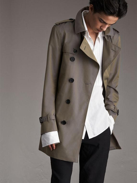 Cotton Gabardine Trench Coat in Storm Blue